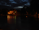 Marygate Landings with night-time light over a flooded River Ouse 11pm 2nd July 2007