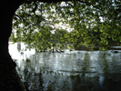 River Ouse in Flood From under Scarborough Bridge looking to St Peters School Grounds 7.30pm 17th June 2007