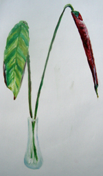 Winter leaf in Vase 2005 oil