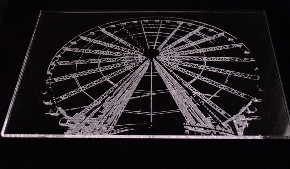 Image etched onto Perspex which can be used as glazing replacement or framed as a picture