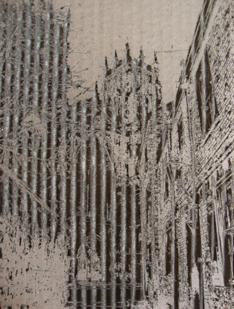 new view of York Minster etched on corrugated card